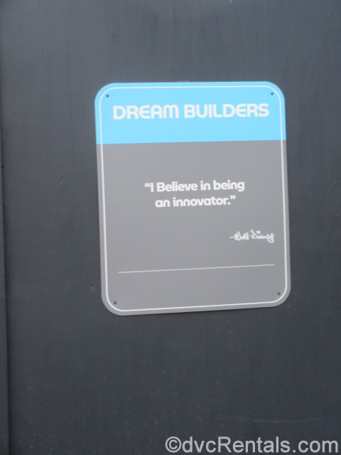 Walt Disney quote on a construction wall at Epcot