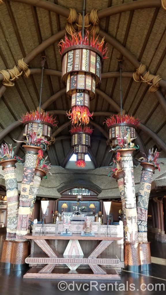 lanterns in the lobby of Disney's Animal Kingdom – Kidani Village