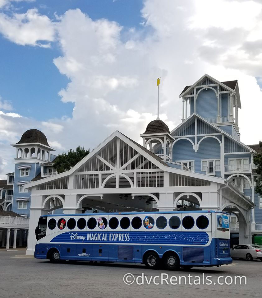 Disney's Magical Express in front of Disney's Beach Club Villas