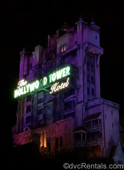 Exterior nighttime picture of the Tower of Terror
