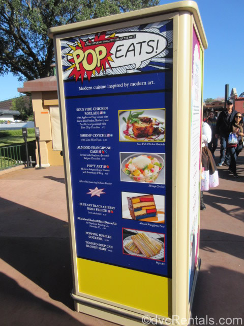 Menu at the Epcot International Festival of the Arts