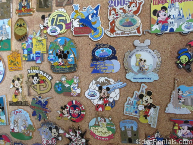 Collection of Disney Pins on a pinboard