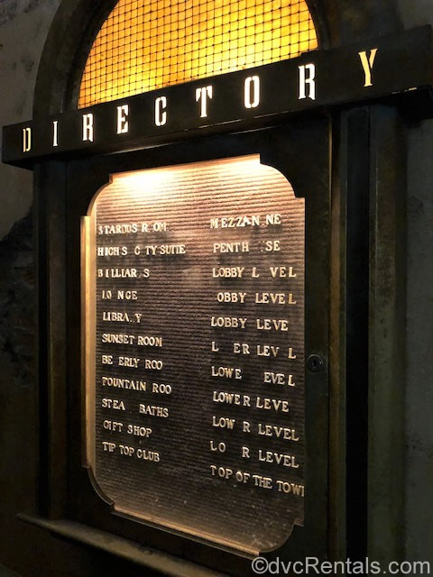 Building directory at the Tower of Terror