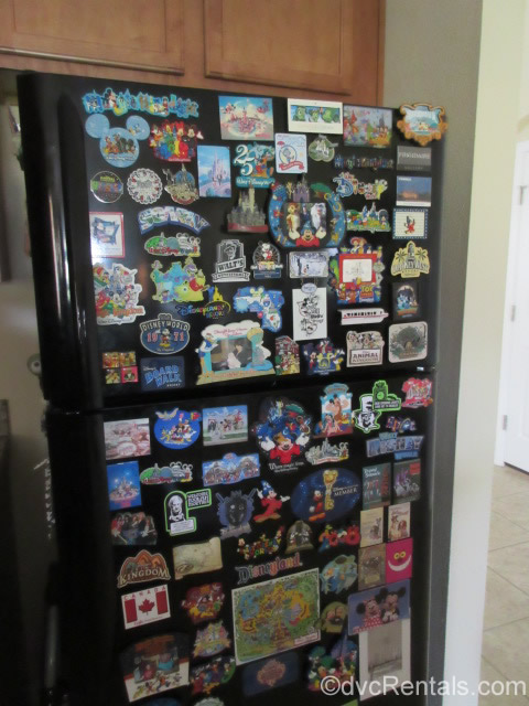 Fridge covered with Disney magnets