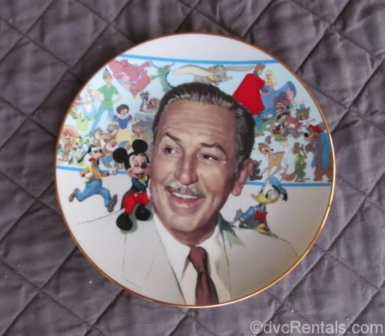 Commemorative plate of Walt Disney