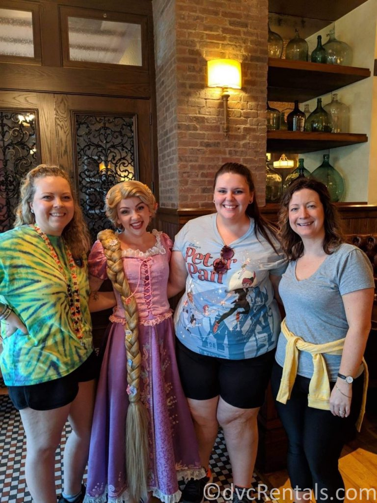 Rapunzel with Team Members Jen, Alyssa and Melissa