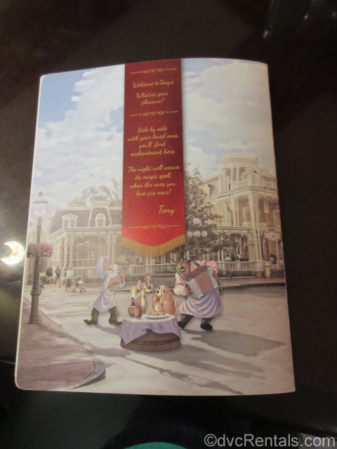 back of menu for Tony's Town Square Restaurant