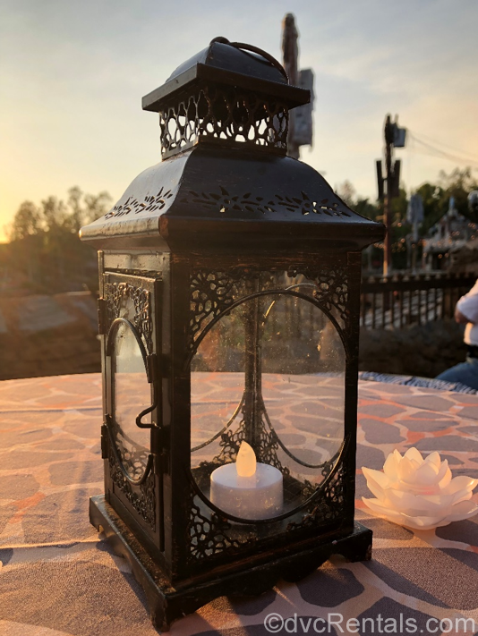 Lantern on table top at the River's of Light Dessert Party