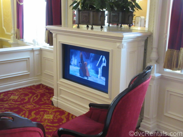 TV playing Lady and the Tramp at Tony's Town Square restaurant