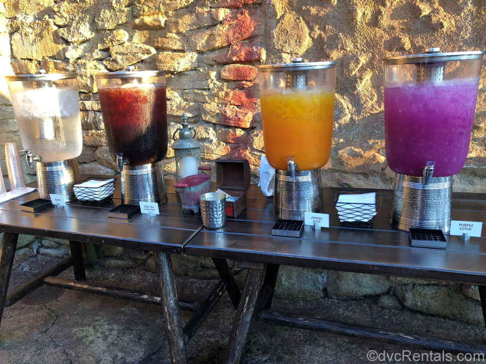 Juice selection at the River's of Light Dessert Party