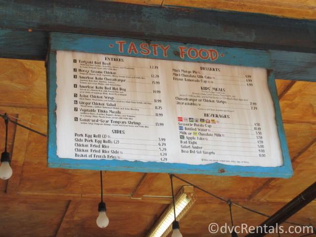 menu for the Yak & Yeti walk-up window