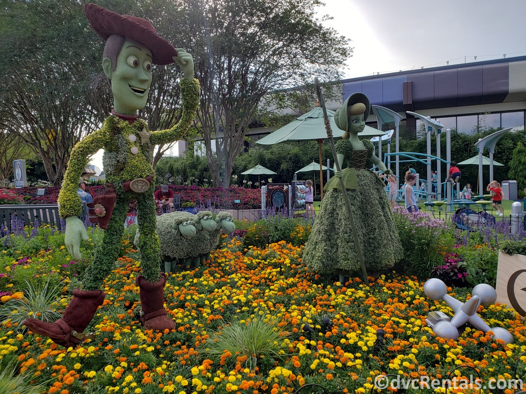 Woody and Bo-Peep topiaries at the Epcot International Flower and Garden Festival