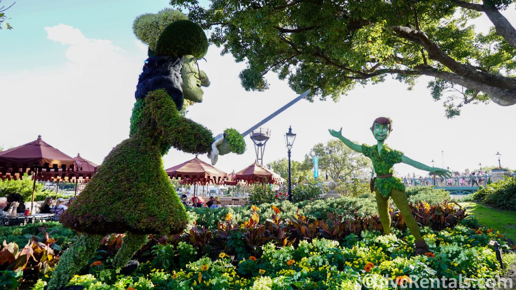 Peter Pan and Captain Hook Topiaries at the Epcot International Flower and Garden Festival