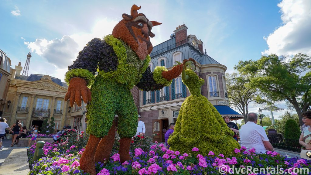 Beauty and the Beast Topiary at the Epcot International Flower and Garden Festival