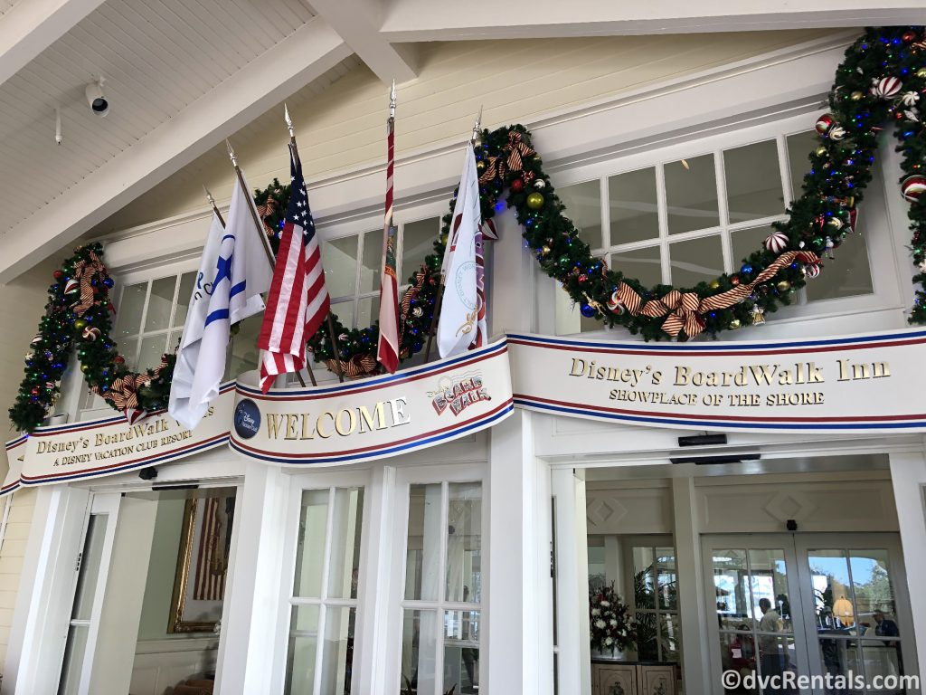 Sliding doors to the lobby of Disney's Boardwalk Villas