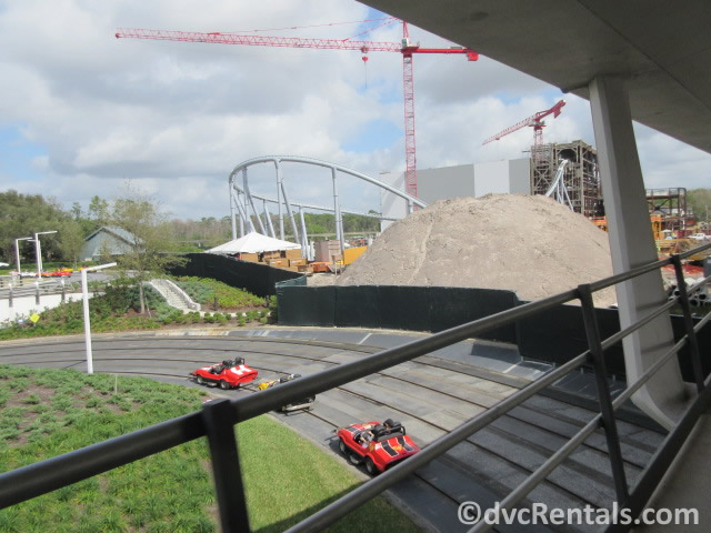 Construction of the Tron Coaster behind the Tomorrowland Speedway at the Magic Kingdom