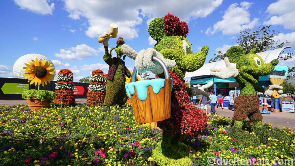 Mickey, Minnie and Goofy topiaries at the Epcot International Flower and Garden Festival