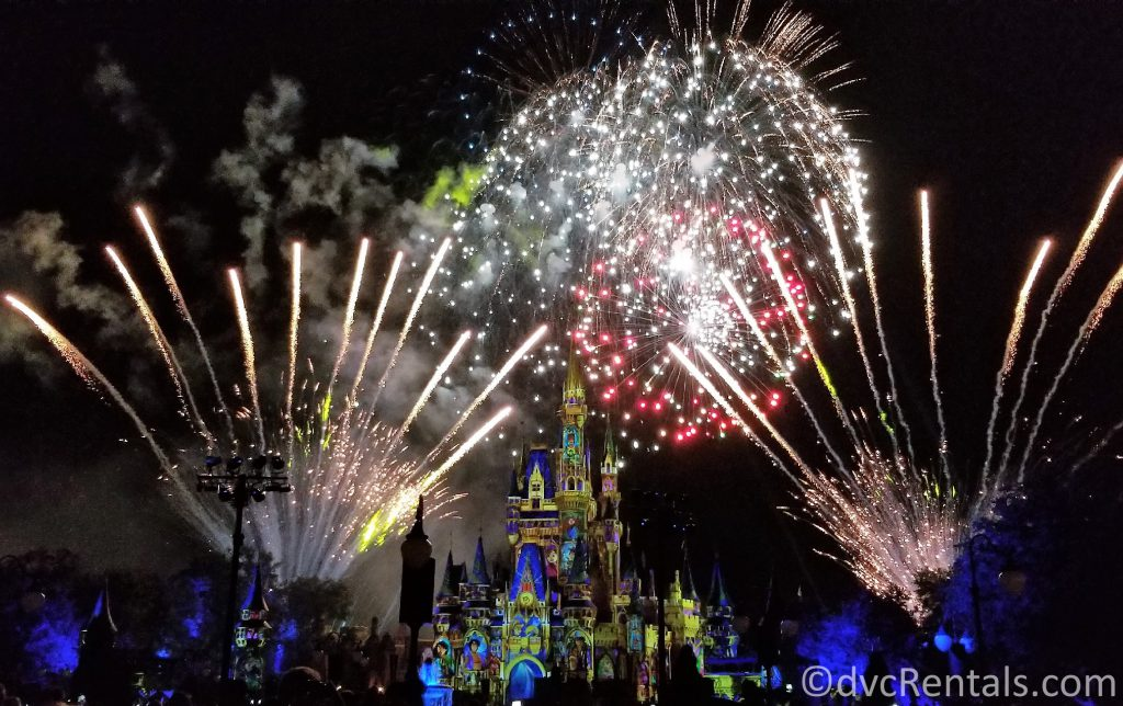 Fireworks and Cinderella Castle at the Magic Kingdom