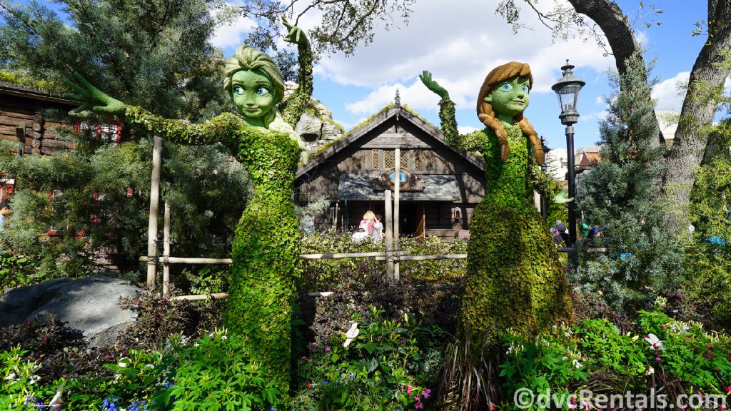 Anna and Elsa Topiaries at the Epcot International Flower and Garden Festival