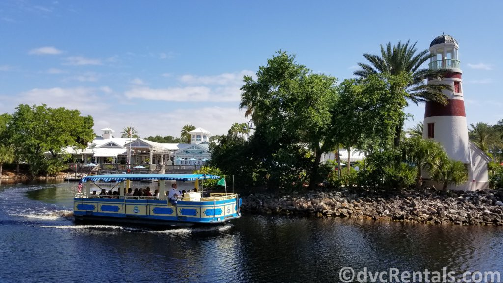 Boat leaving Disney's Old Key West and heading to Disney Springs