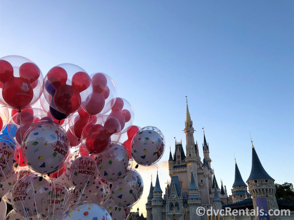 Cinderella castle and balloons photo