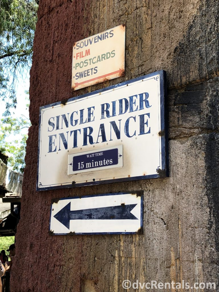 Single Rider sign at Expedition Everest