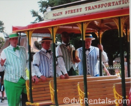 Dapper Dans on the Main Street Trolley at Disney's Magic Kingdom