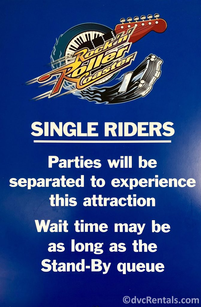 Single Rider sign at Rock 'n' Roller Coaster