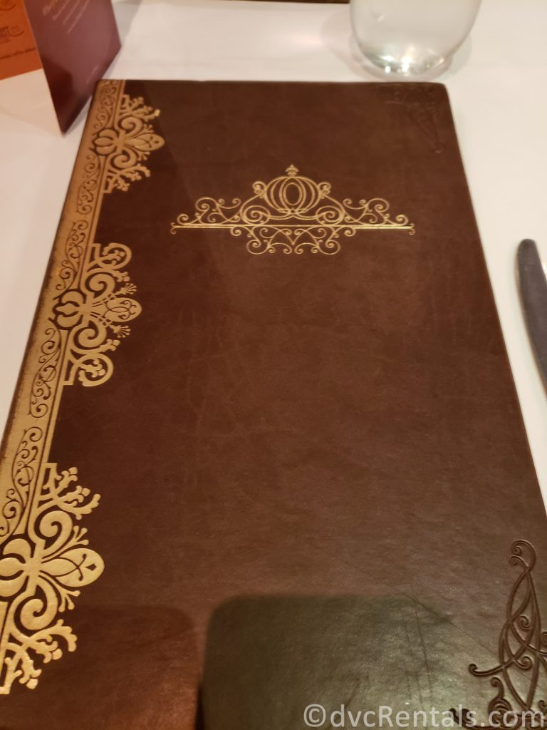menu cover for the Royal Palace restaurant on the Disney Dream