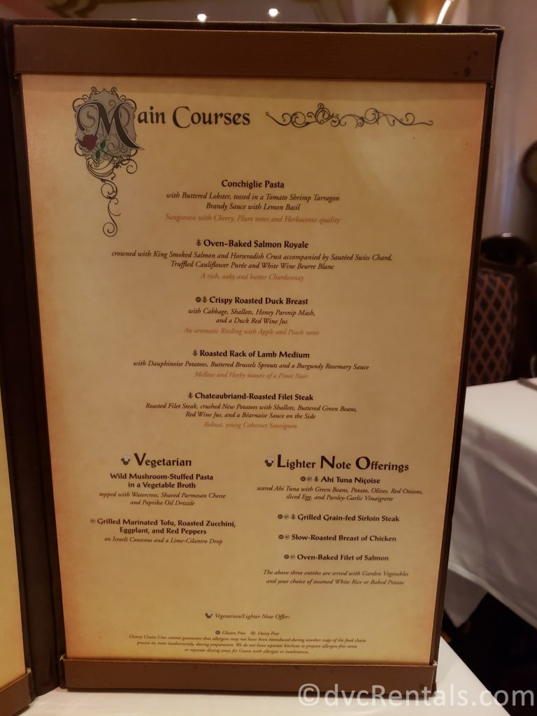 menu page 1 for the Royal Palace restaurant on the Disney Dream