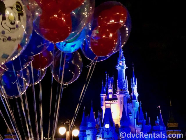 Cinderella Castle and Disney Balloons