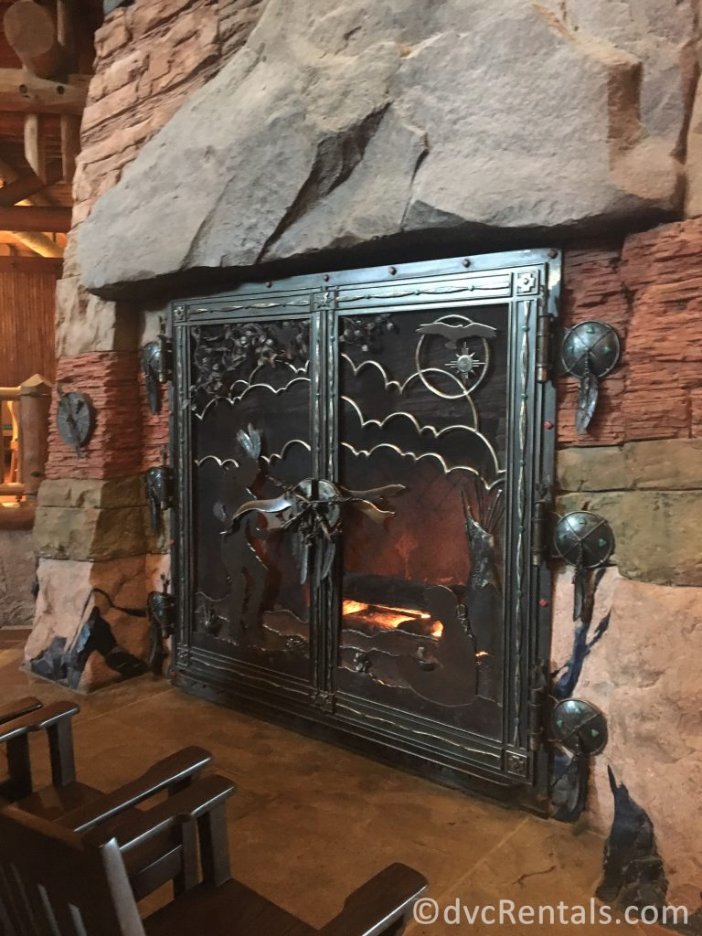 Fireplace in the lobby at Disney's Wilderness Lodge