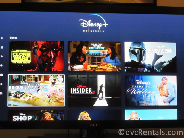 Disney+ show options, including exclusive Disney content