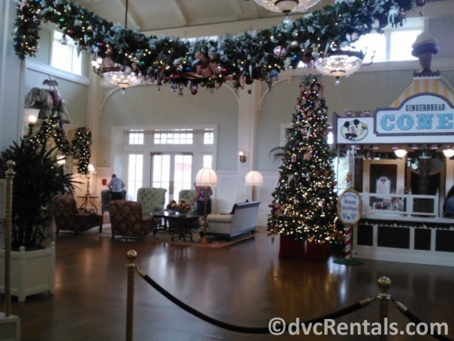 holiday decorations in the lobby of Disney's Boardwalk Villas