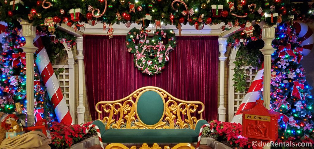 Santa's chair in the Candy Cane Garden at Disney's Magic Kingdom