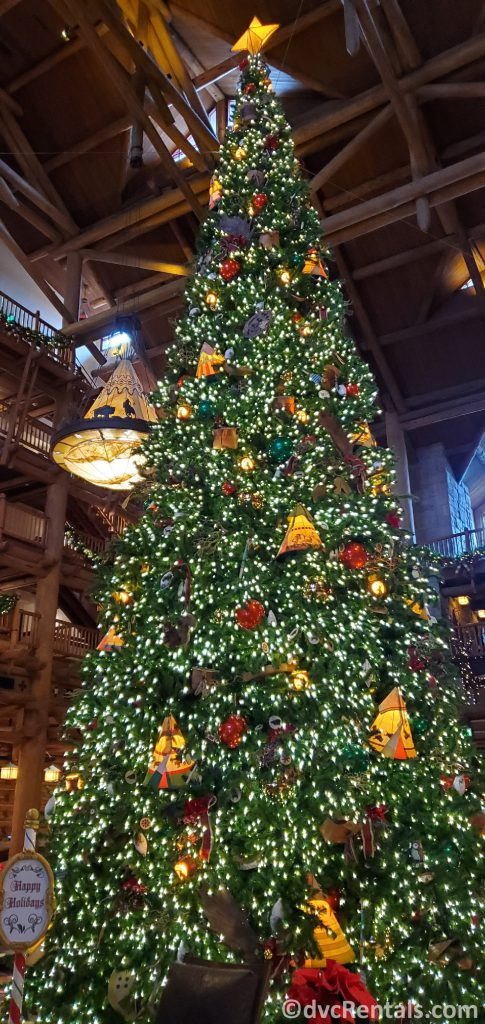 Christmas tree at Boulder Ridge Villas and Copper Creek Villas & Cabins at Disney's Wilderness Lodge