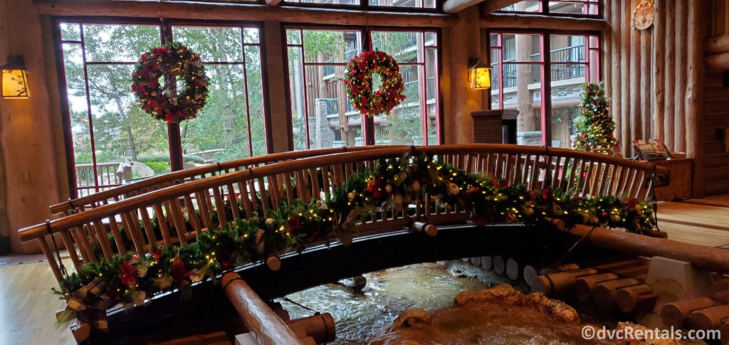 Christmas decorations around the lobby at Boulder Ridge Villas and Copper Creek Villas & Cabins at Disney's Wilderness Lodge