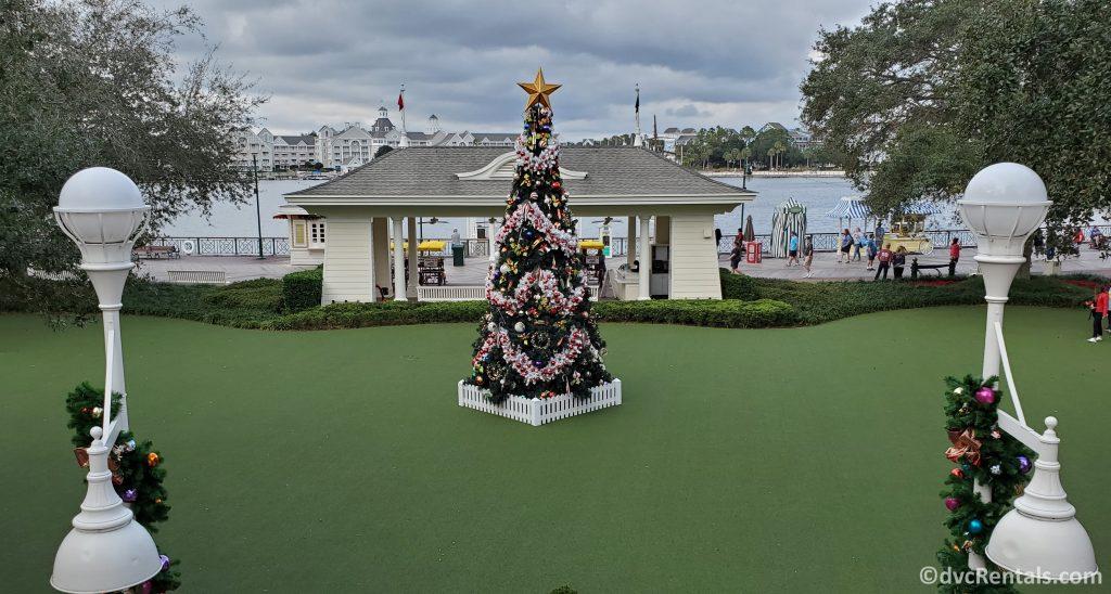 Outdoor Christmas tree at Disney's Boardwalk Villas