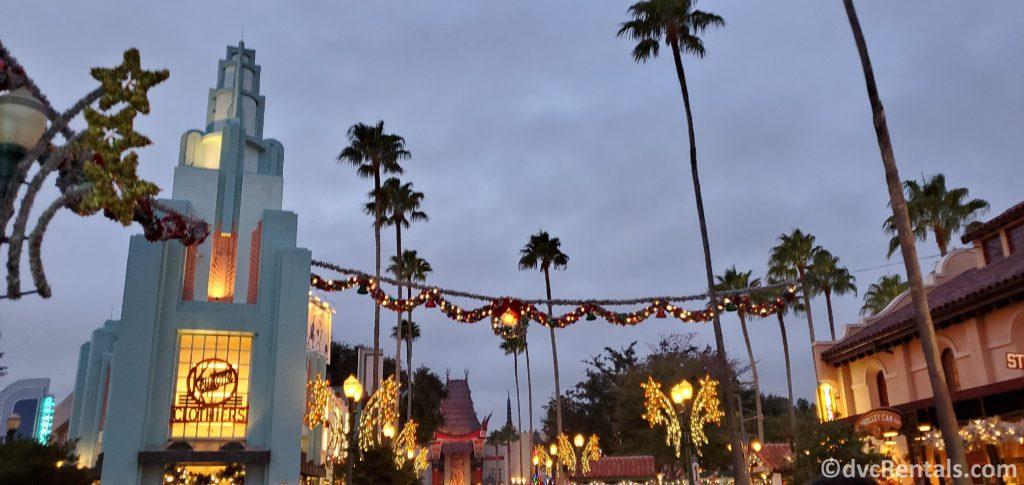 Garland hanging on Sunset Boulevard at Disney's Hollywood Studios