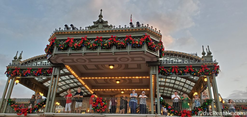 Christmas decorations on the Train Station at Disney's Magic Kingdom