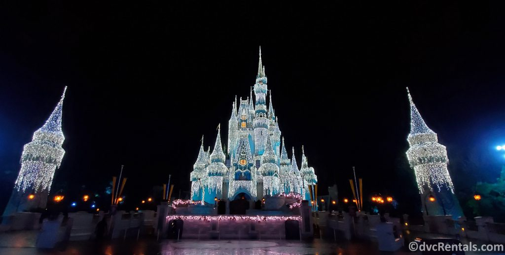 Cinderella Castle with Christmas Lights on
