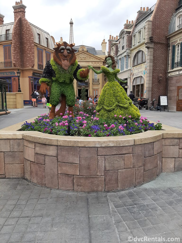 Beauty and the Beast topiary from the Epcot international Flower and Garden festival