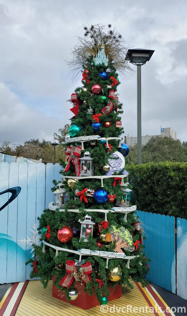 WDW themed tree at the Christmas Tree Trail