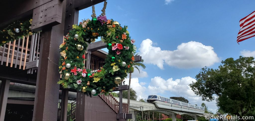 Christmas wreath, monorail and American flag at Disney's Polynesian Villas and Bungalows