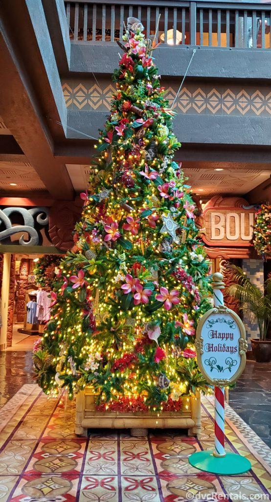 Christmas tree at Disney's Polynesian Villas & Bungalows