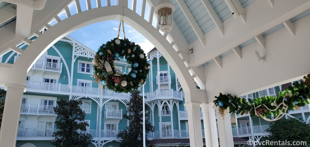 Christmas decorations by the leisure pool at Disney's Beach Club Villas