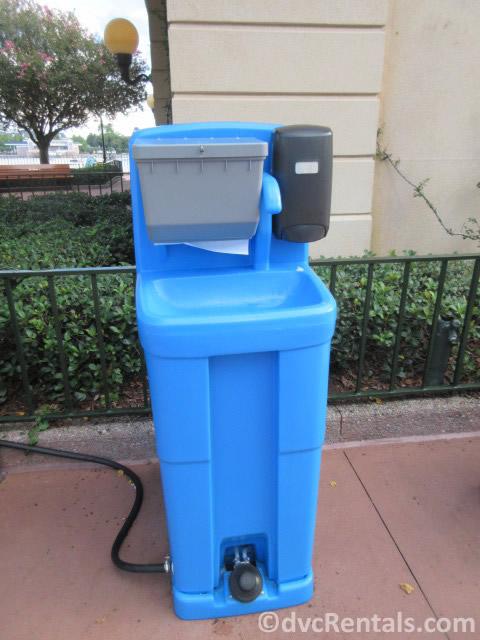 handwashing stations at Epcot