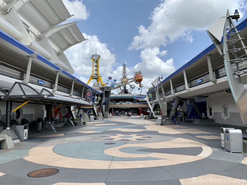 Tomorrowland walkway with shade on the sides