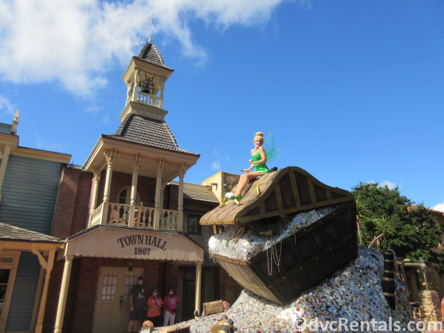 Tinkerbell on a float at the Magic Kingdom