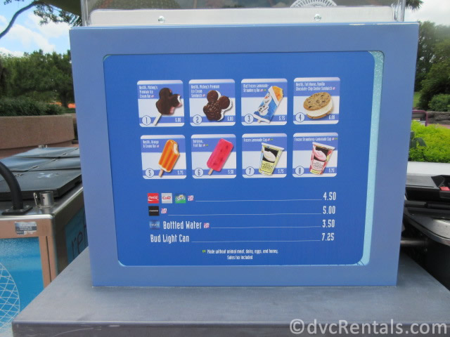 Ice Cream menu at Walt Disney World